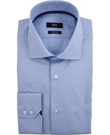 Hugo Boss Light Blue Gregory  50310379 Polka Dot Trim Shirt