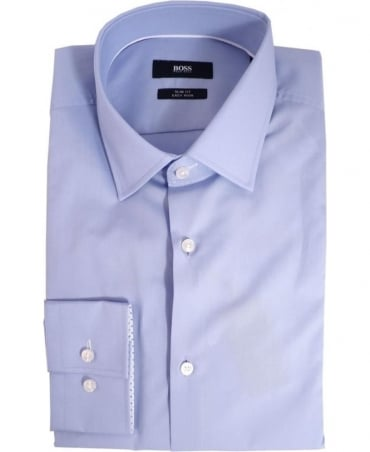 Hugo Boss Light Blue Joey 502851170 Polka dot Button Trim Shirt