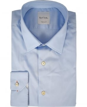 Paul Smith  Light Blue Long Sleeve Flower Design Inside Cuff Shirt