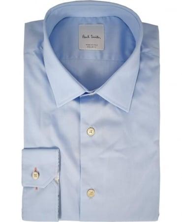 Paul Smith  Light Blue Long Sleeve Flower Design Inside Cuff Shirt
