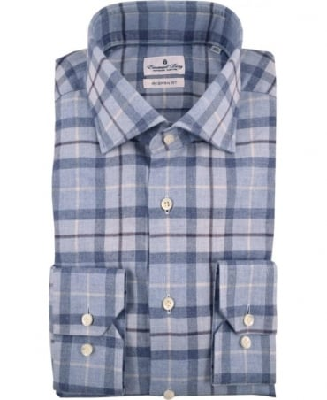 Emanuel Berg Light Blue Modern Fit Checkered Shirt
