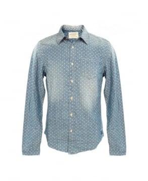 Scotch & Soda Light Blue Patterned Denim Shirt
