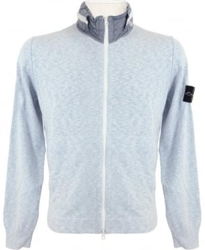 Stone Island Light Blue Rasto Cotton Full-Zip Sweatshirt