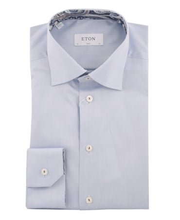Eton Shirts Light Blue Slim Fit Paisley Trim Shirt
