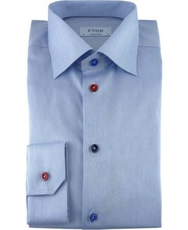 Eton Shirts Light Blue Twill Shirt With Multi Coloured Buttons