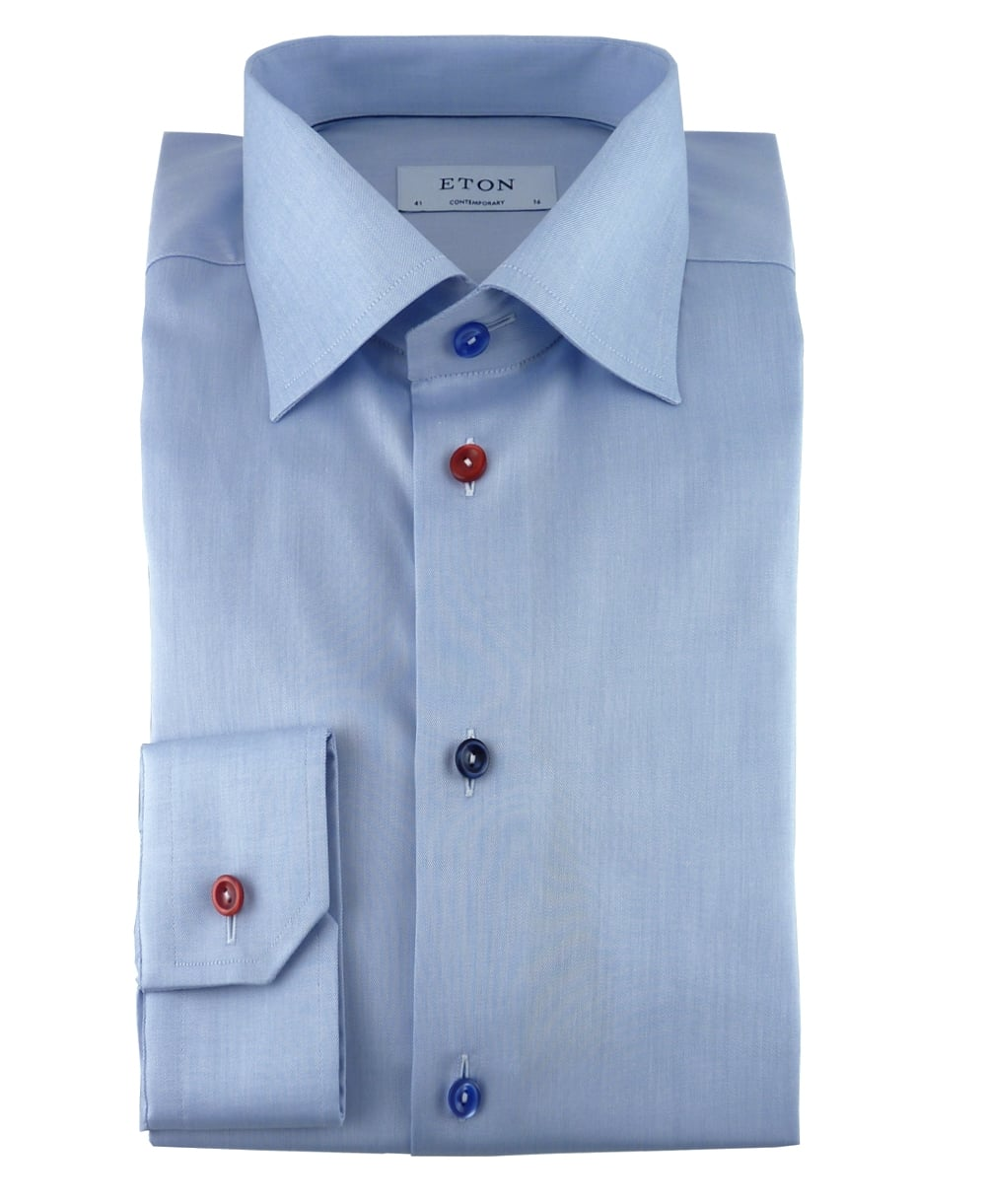 Eton Shirts Light Blue Twill Shirt With Multi Coloured Buttons ...