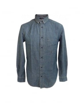 Armani Light Blue Worn Look Denim Shirt