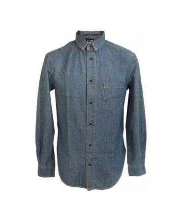 Armani Light Blue Worn Look Denim Shirt