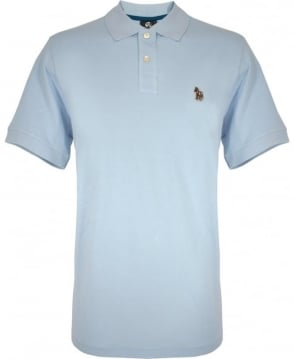 PS By Paul Smith Light Blue Zebra Embroidered Chest Logo Polo
