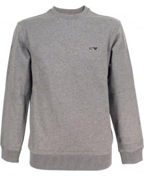 Armani Light Grey Crew Neck Sweatshirt With Logo
