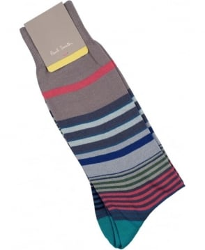 Paul Smith  Light Grey Fuel APXA-800E-K187 Stripe Socks