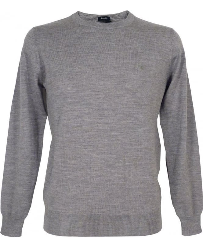 Armani Light Grey Jumper In Virgin Wool