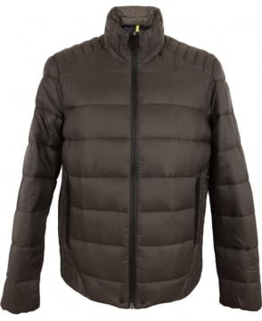 Replay Light Nylon Quilted Jacket In Mud Brown