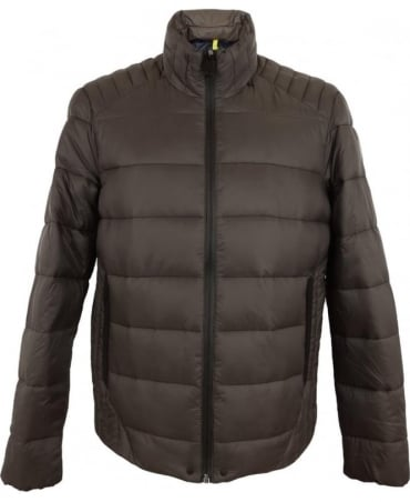 Light Nylon Quilted Jacket In Mud Brown