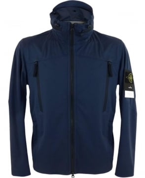 Stone Island Light Soft Shell SI Check Grid Jacket In Marine Blue