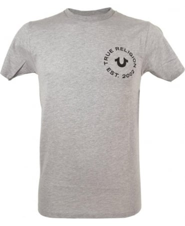 True Religion Logo T-shirt In Grey Marl