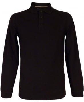 Armani Collezioni Long Sleeved Polo Shirt In Black
