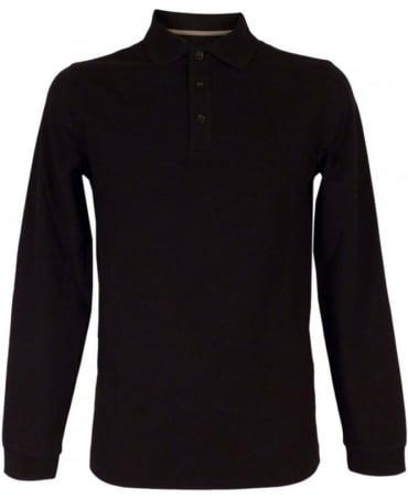 Armani Long Sleeved Polo Shirt In Black