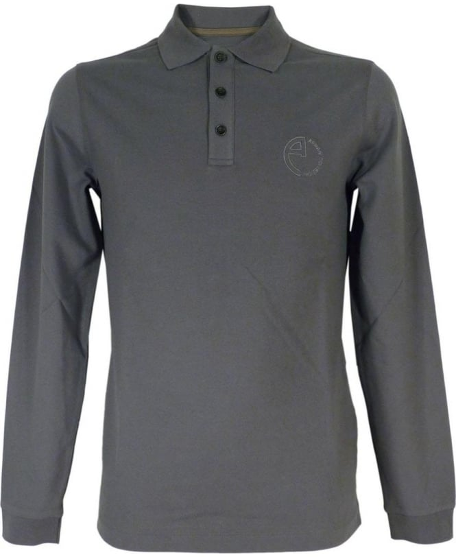 Armani Collezioni Long Sleeved Polo Shirt In Steel Grey