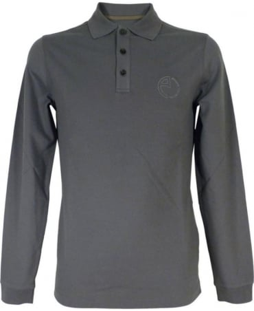 Armani Long Sleeved Polo Shirt In Steel Grey