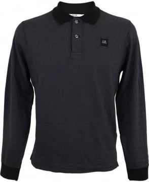 C.P. Company Long Sleeved Tacting Polo Shirt In Black