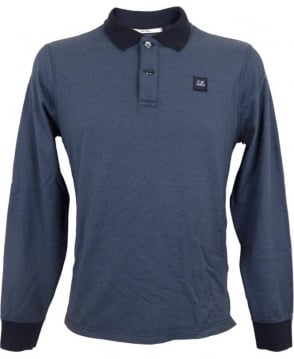 CP Company Long Sleeved Tacting Polo Shirt In Blue