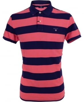 Gant Magenta And Navy Barstripe Piaue Polo
