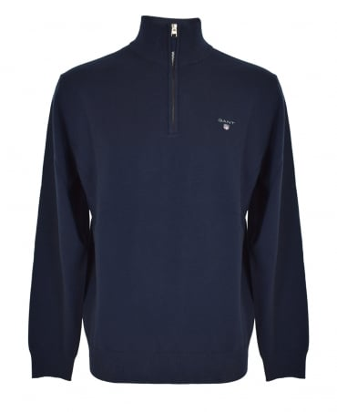 Marine Superfine Lambswool Zip-up Jumper