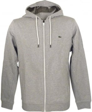 Lacoste Marl Grey SW5412 Contrast Zip Hooded Sweatshirt
