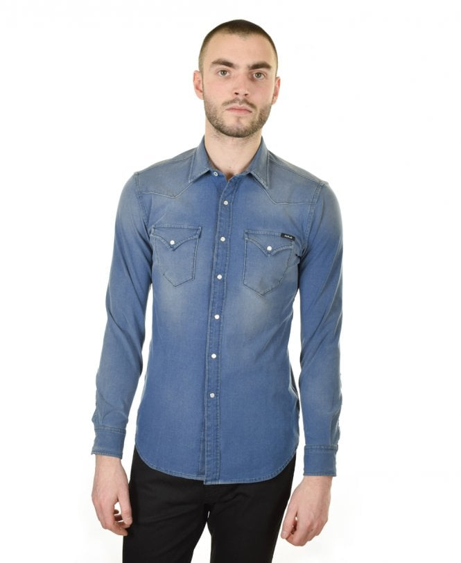 3baa396c2 Medium Blue Stonewashed Hyperflex Denim Shirt