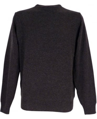 Hackett Merino Silk Cashmere Jumper In Charcoal