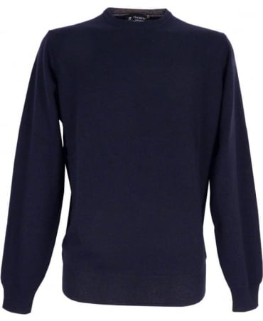 Hackett Merino Silk Cashmere Jumper In Navy