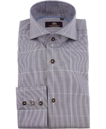 Micro Houndstooth Check Yves EC Shirt