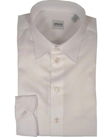Armani Collezioni Micro Pattern Shirt In White