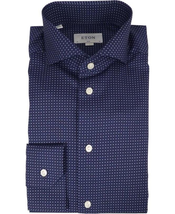 9e788f224 Eton Micro Print Poplin Shirt In Blue - Shirts from Jonathan Trumbull UK