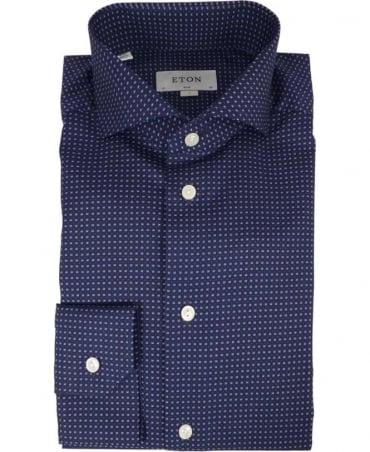 Eton Shirts Micro Print Poplin Shirt In Blue