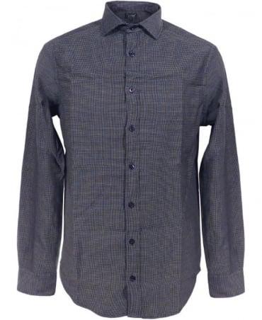Armani Micro Print Shirt In Dark Blue