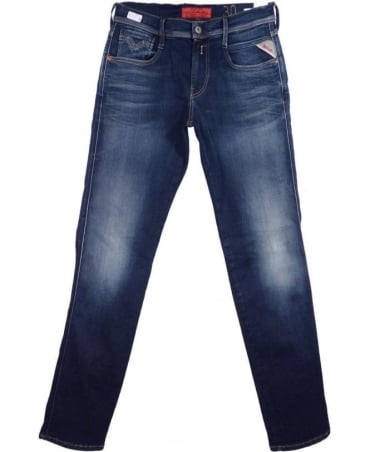 Replay Mid Blue Anbass Slim Fit 'Hyperflex' Jeans