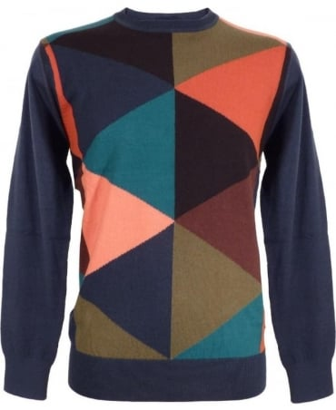 Paul Smith - Jeans Multi Coloured Block Wool Blend Jumper