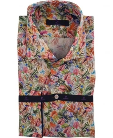 R2 Westbrook Multi Coloured Tropical Print Shirt