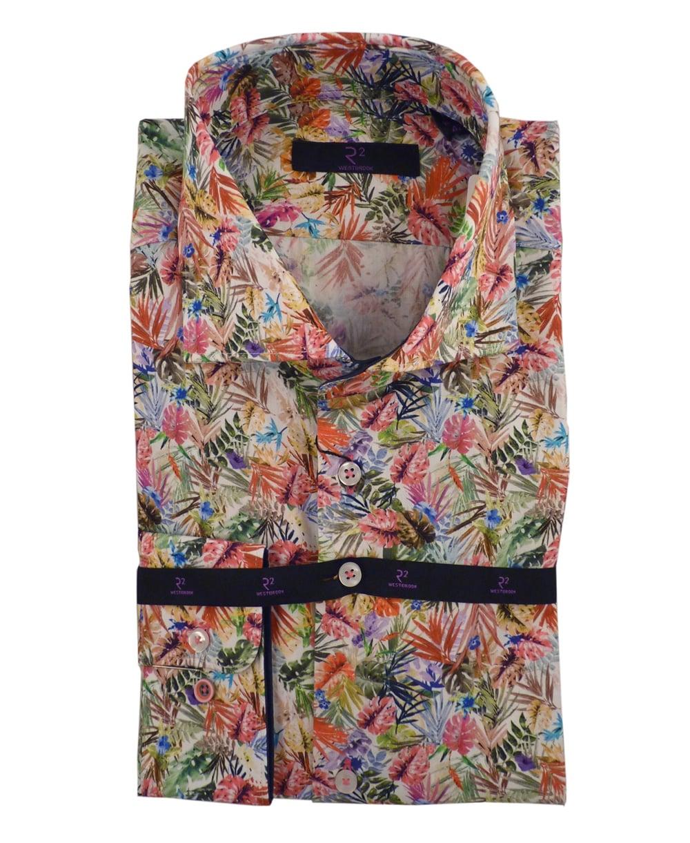 R2 Amsterdam Multi Coloured Tropical Print Shirt R2