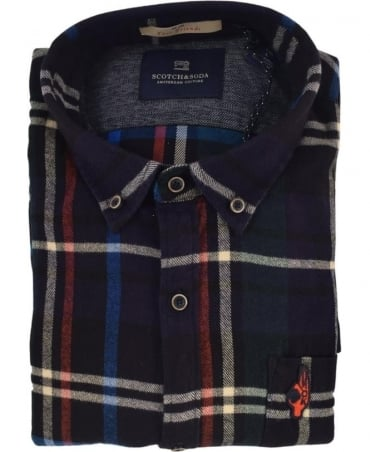 Scotch & Soda Navy 101420 Brushed Cotton Check Shirt
