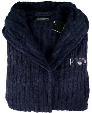 Emporio Armani  Navy 110799 Hooded Logo Bathrobe