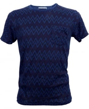 Scotch & Soda Navy 125084 Zig Zag Stripe T-shirt