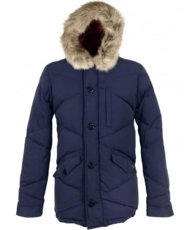 Scotch & Soda Navy 127021 Fake Fur Midlength Quilted Coat