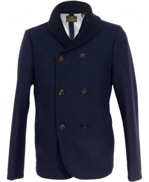 Scotch & Soda Navy 127132 Shawl Collar Double Breasted Blazer