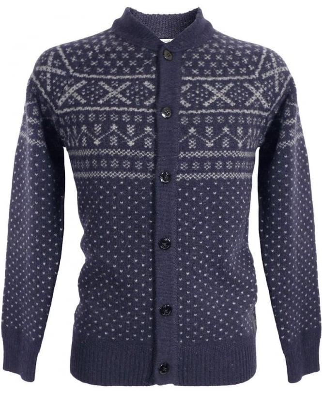 Scotch & Soda Navy 14040960028 Pattern Wool Cardigan