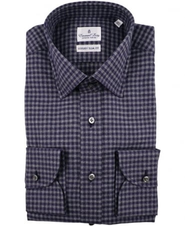 Emanuel Berg Navy 215-018 Warsaw Check Shirt