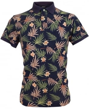 Gant Navy 222113 Printed Flowers Pique Polo