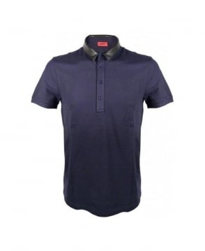 Hugo Navy 4 Button Neck Polo